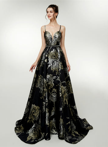 A-Line Black Satin Spaghetti Straps Print Backless Floro Length Prom Dress