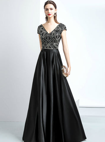 A-line Black Satin Cap Sleeve V-neck Backless Prom Dress With Beaded