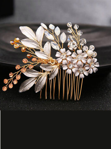 Gold Hair Comb Hair Sticks Crystal Flower Hair Jewelry