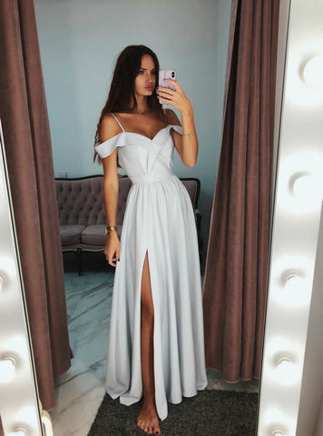 Simple Gray Satin Off The Shoulder Long Prom Dress With Side Split