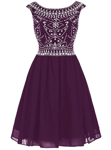Purple Short Mini Chiffon Cap Sleeve Homecoming Dress