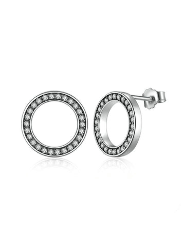 925 Sterling Silver Circle Round Stud Earrings