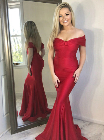 Red Satin Mermaid Off the Shoulder Long Prom Party Dress