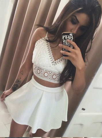 White Two Piece Spaghetti Straps Lace Mini Homecoming Dress