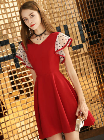 In Stock:Ship in 48 Hours A-Line Satin V-neck Short Homecoming Dress