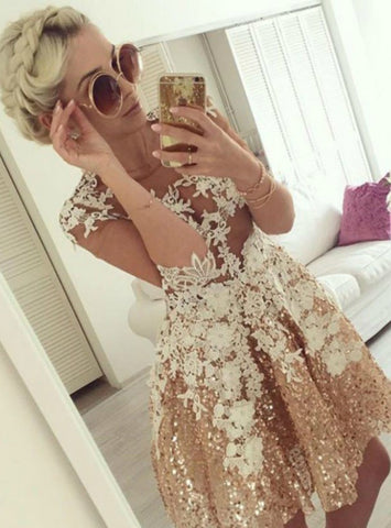 A Line Illusion Short Gold Sequins Appliques Homecoming Dress