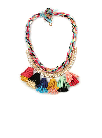Colorful Flower Boho Ethnic Tassle Cotton Chain Statement Maxi Necklace