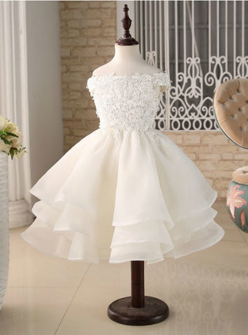 Cap Sleeves Flower Girl Dresses For Wedding Party Ball Gown Lace Applique Beading