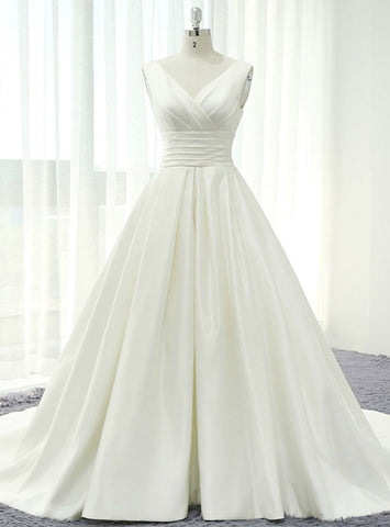 Adorable Ivory White Satin V-neck Backless Pleats Wedding Dress