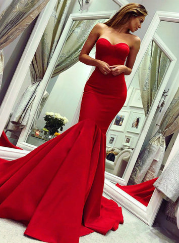 Simple Red Mermaid Satin Sweetheart Backless Sleeveless Long Prom Dress