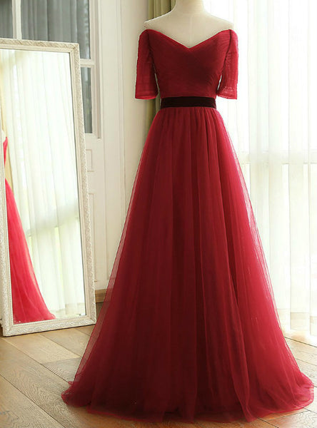 Off The Shoulder Ruched Tulle Bridesmaid Dresses 2017 New Wine Red Long Floor Length