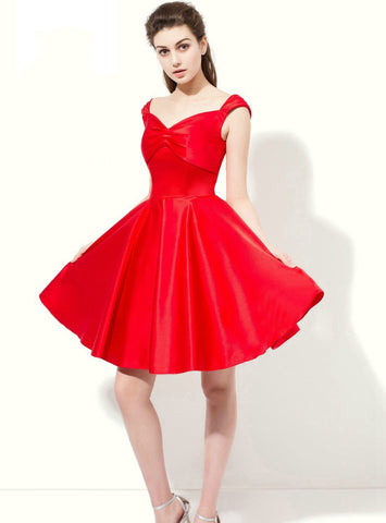 A-line Red Straps Satin Knee Length Bridesmaid Dress