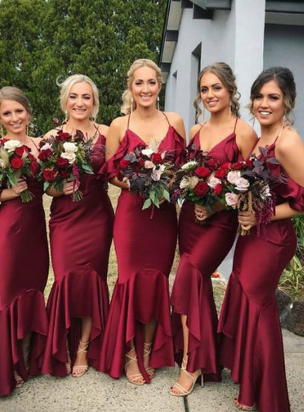 Burgundy Mermaid Hi Lo Satin Spaghetti Straps Bridesmaid Dress