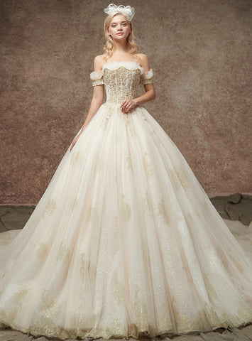 Charming Champagne Tulle Applqiues Off The Shoulder Wedding Dress
