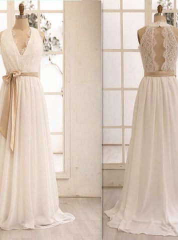 Prom Gowns Handmade Wedding Dresses V-neckline Chiffon and Lace White