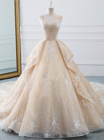 Champagne Ball Gown V-neck Tulle Sequins Bling Bling Wedding Dress With Train