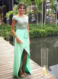 Brilliant Long Dresses with Cap Sleeves & Slit Beading Bodice Backless Prom
