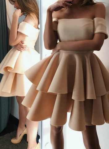 A-line Cute Champagne Satin Off The Shoulder Homecoming Dresses