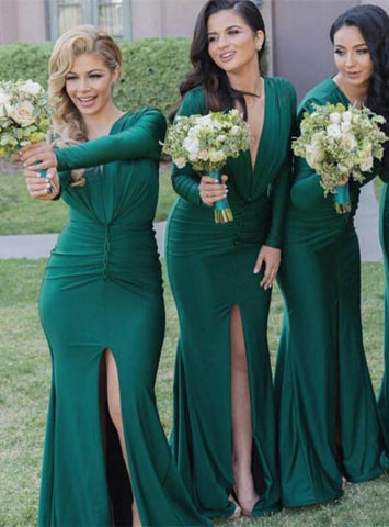 Amazing 2017 Hunter Green Deep V Neck Mermaid Long Bridesmaid Dresses