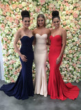 Strapless Mermaid Long Prom Dress Bridesmaid Dress