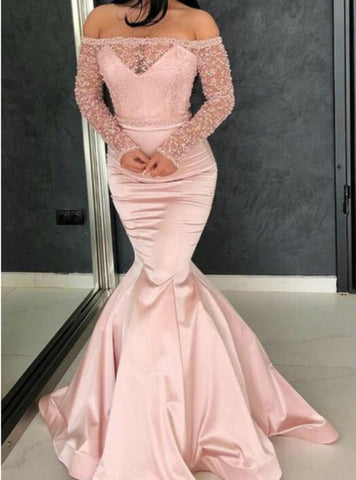 Pink Mermaid Satin Lace off The Shoulder Long Sleeve Long Prom Dress