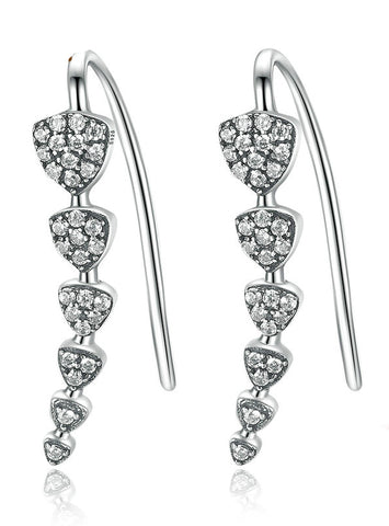 925 Sterling Silver Triangle Heart Long Drop Earrings