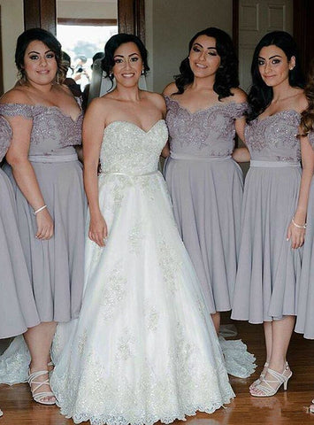 New arrivals Tea Length Bridesmaid Dress Grey Lace Chiffon Bridesmaid Dresses