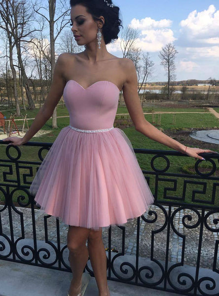 Fairy Tale Simple Sweetheart Pink Mini Dress with Sashes