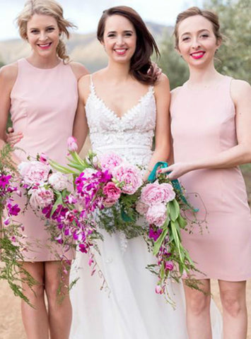 Simple Pink Sleeveless Slim Short Satin Bridesmaid Dress