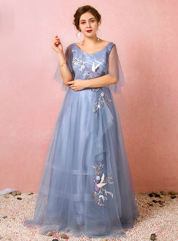 Plus Size Blue Tulle Appliques V-neck Short Sleeve Prom Dress