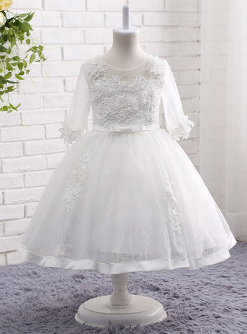 Ball Gown Applique Gown White / Ivory Lace Flower Girl Dresses 3/4 Sleeves