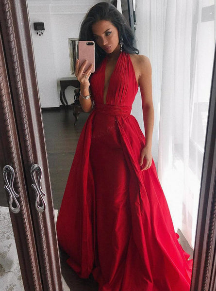 Simple Halter Red Satin Evening Dresses Long Prom Gowns 2017