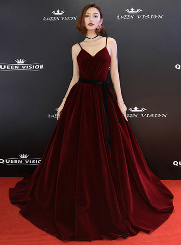 In Stock:Ship in 48 Hours Burgundy Velvet Spaghetti Straps Pleats Long Prom Dress