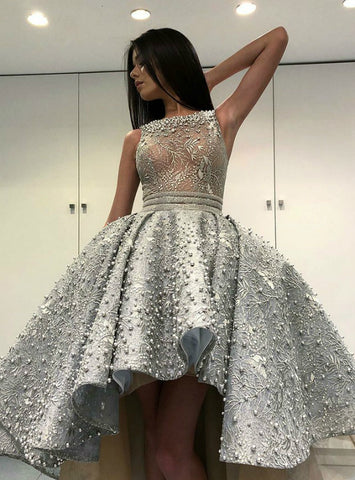 Gray Ball Gown See Through Lace Hi Lo Scoop Prom Dress With Pearls