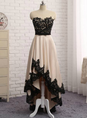 Champagne Evening Dress Front Short Back Long Black Lace