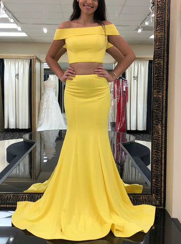Yellow Mermaid Satin Two Piece Off the Shoulder Long Prom Dress