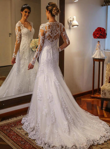 Simple Long Sleeves Trumpet Lace Wedding Dress with Deep V Neck