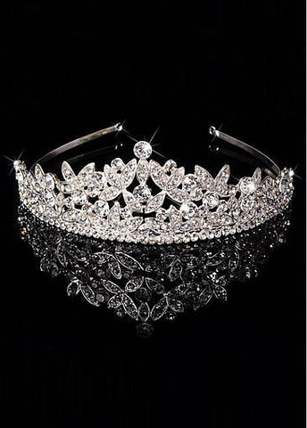 Fashion Dazzling Silver-plated Alloy Tiara With Rhinestones