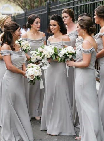 A-Line Light Gray Chiffon Spaghetti Straps Floor Length Bridesmaid Dress