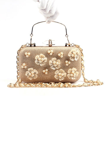 Beautiful High-end Pearl Floral Design Evening Clutch