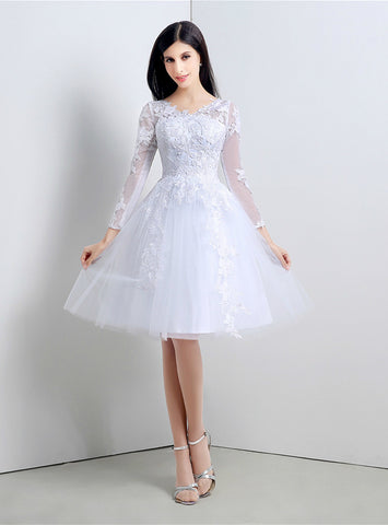 A-Line White Tulle Appliques Long Sleeve Knee Length Homecoming Dress