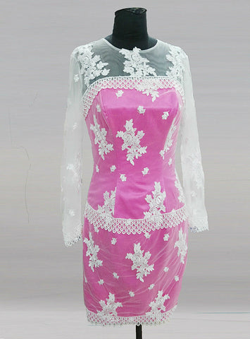Attractive Long Sleeve Pink Short Groom Mother Of The Bride Lace Dresses