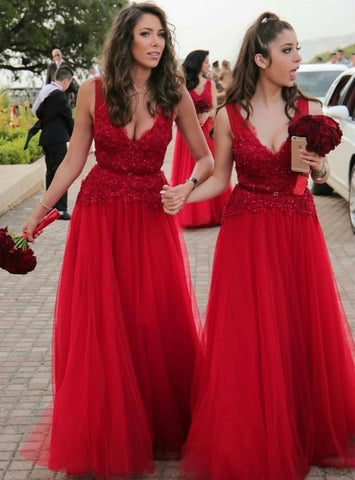 Modern Lace Beading Tulle Bridesmaid Dresses Long Red Sexy V Neckline Dresses