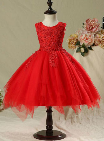 Scoop Neck Flower Appliques Pearl 2017 Flower Girl Dresses Red Short Ball Gown