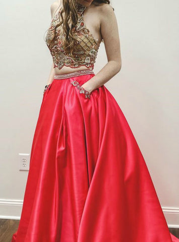 A-Line Two Piece Halter Red Satin Beading Prom Dress With Pocket