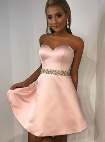 A-Line Sweetheart Pink Satin Short Homecoming Dress With Beading