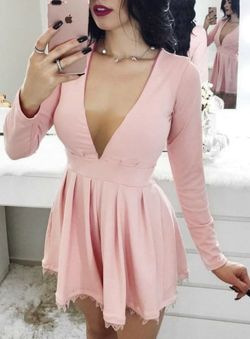 A-Line Deep V-Neck Long Sleeves Pink Satin Homecoming Dress