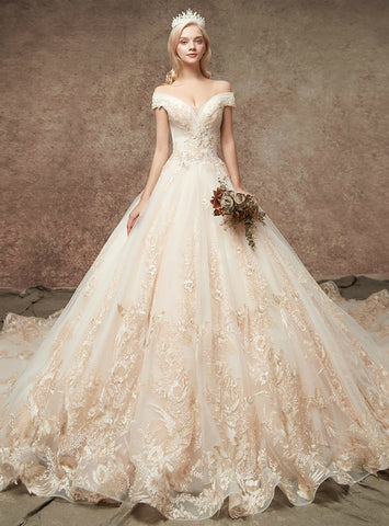 Marvelous Champagne Tulle Appliques Off The Shoulder Wedding Dress
