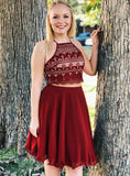 Burgundy Two Piece Halter Lace Chiffon Homecoming Dress