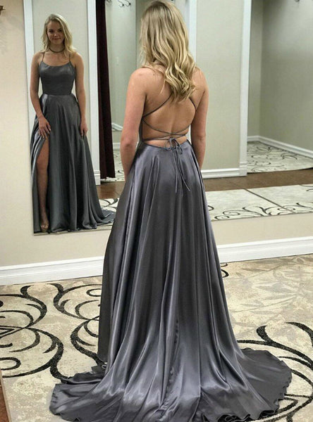 A-Line Gray Satin Spaghetti Straps Backless Prom Dress With Side Split